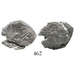 Small clump of 2 cob 1R (Mexico City, Mexico, and Potosi, Bolivia, probably Philip V).  5.8 grams to
