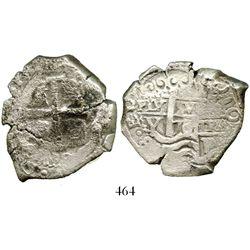 Potosi, Bolivia, cob 8 reales, 1708/7Y, unique overdate. S-P43a. 24.1 grams. Thick and chunky per th