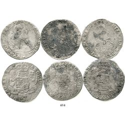 Lot of 3 Brabant, Spanish Netherlands, portrait ducatoons of Philip IV, various dates (1637, 1649 an