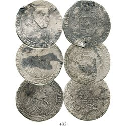 Lot of 3 Brabant, Spanish Netherlands, portrait ducatoons of Philip IV, various dates (1637, 1651 an
