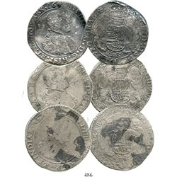 Lot of 3 Spanish Netherlands portrait ducatoons of Philip IV, various partial dates.  93.8 grams tot
