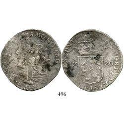 Zeeland, United Netherlands, silver ducat, 1720. KM-52.1. 21.6 grams. Bold date, some bold legend de
