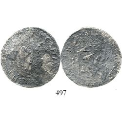 Overijssel, United Netherlands, 1 gulden, 1723. KM-63.3. 6.6 grams. Moderately to heavily corroded b