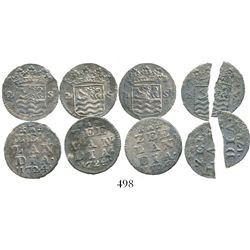 Lot of 4 Zeeland, United Netherlands, 2 stuivers, 1724. KM-59. 5.3 grams total. Thin but well-detail