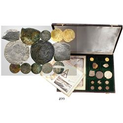 Original promotional set in leather case consisting of two Dutch (Utrecht) gold ducats 1724, three M