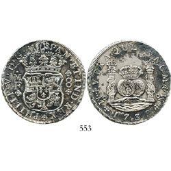 Mexico City, Mexico, pillar 8 reales, Philip V, 1739MF. KM-103; CT-787. 26.2 grams. Choice AU detail