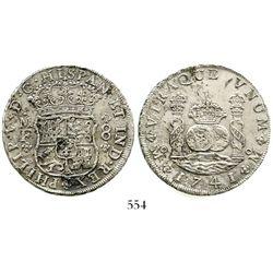 Mexico City, Mexico, pillar 8 reales, Philip V, 1741MF. KM-103; CT-791. 26.0 grams. Very bold strike