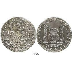 Mexico City, Mexico, pillar 8 reales, Philip V, 1742MF. KM-103; CT-793. 24.0 grams. Nice pillars (AU