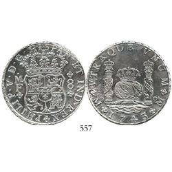 Mexico City, Mexico, pillar 8 reales, Philip V, 1743MF. KM-103; CT-795. 26.3 grams. Richly toned sat