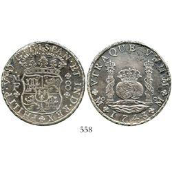 Mexico City, Mexico, pillar 8 reales, Philip V, 1743MF. KM-103; CT-795. 25.8 grams. Bold XF details
