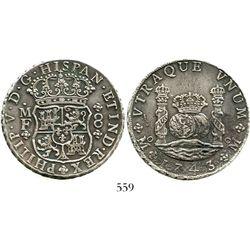 Mexico City, Mexico, pillar 8 reales, Philip V, 1743MF. KM-103; CT-795. 26.6 grams. Attractively ton
