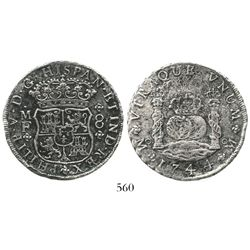 Mexico City, Mexico, pillar 8 reales, Philip V, 1744MF. KM-103; CT-797. 22.0 grams. Lightly corroded