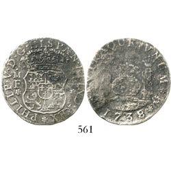 Mexico City, Mexico, pillar 4 reales, Philip V, 1738/7MF, rare. KM-94; CT-1053. 7.3 grams. Bold date