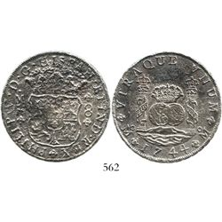Mexico City, Mexico, pillar 8 reales, Philip V, 1744MF, very rare provenance. KM-103; CT-797. 23.9 g
