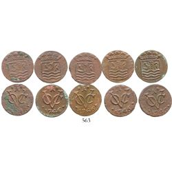 Lot of 5 Zeeland, Dutch East India Co., copper duits, 1746, very rare provenance. KM-unlisted (cf. 8