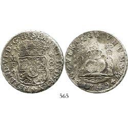 Mexico City, Mexico, pillar 8 reales, Ferdinand VI, 1749MF. KM-104.1; CT-324. 26.0 grams. Bold XF+ d