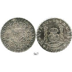 Mexico City, Mexico, pillar 8 reales, Ferdinand VI, 1756MM. KM-104.2; CT-340. 26.4 grams. Choice, un