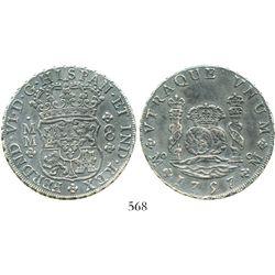 Mexico City, Mexico, pillar 8 reales, Ferdinand VI, 1757MM. KM-104.2; CT-342. 26.1 grams. Darkly ton