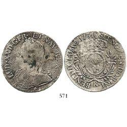 France (Bordeaux mint), ecu, 1731-K. KM-486.11. 27.3 grams. Solid coin with bold legends, light corr