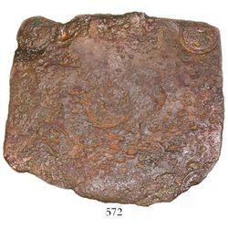 "Swedish copper ""plate money"" 4 daler, Fredrik I, 1726. KM-PM74. 1774 grams, 9-1/2"" x 9"". Somewhat co"