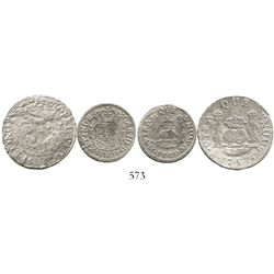 Lot of 2 Mexico City, Mexico, pillar minors: 2R, Ferdinand VI, 1757M; and 1R, Charles III, 1769M.  7