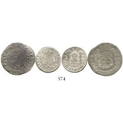 Lot of 2 Mexico City, Mexico, pillar minors: 2R, Ferdinand VI, 1757M; and 1R, Charles III, 1770M.  7