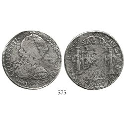 Mexico City, Mexico, bust 8 reales, Charles III, 1783FF. KM-106.2; CT-933. 22.7 grams. Moderate surf