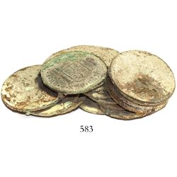 """Clump of about 15 Spanish colonial bust 2 reales.  120 grams, 3"""" long. Fairly tight """"pile"""" (several"""