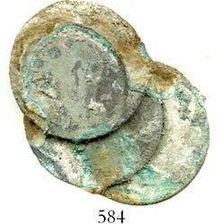Clump of 3 Spanish colonial bust 2 reales.  21.1 grams. An evenly spread fan of coins, the reverse o