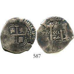 Potosi, Bolivia, cob 2 reales, 1656E, PH at top. S-P37a; KM-16; CT-900. 6.8 grams. Broad flan with f