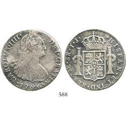 Lima, Peru, bust 8 reales, 1796IJ. KM-97; CT-651. 22.4 grams. Good bold details despite light surfac