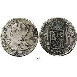 Lima, Peru, bust 8 reales, Charles III, 1784MI. KM-78; CT-867. 26.3 grams. Bold VF details, no corro