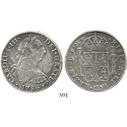 Mexico City, Mexico, bust 8 reales, Charles III, 1786FM. KM-106.2; CT-939. 24.6 grams. Nicely toned,