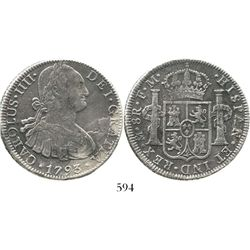 Mexico City, Mexico, bust 8 reales, Charles IV, 1793FM. KM-109; CT-686. 25.6 grams. Bold VF details,