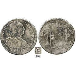 Potosi, Bolivia, bust 8 reales, Charles IV, 1796/9PP, unlisted overdate. KM-unlisted; CT-unlisted. 2