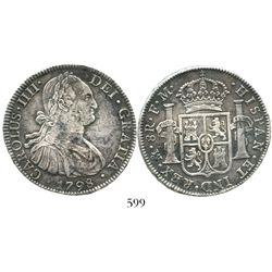 Mexico City, Mexico, bust 8 reales, Charles IV, 1798FM. KM-109; CT-692. 26.7 grams. Choice, uncorrod