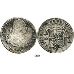 Seville, Spain, bust 8 reales, Charles IV, 1798CN. KM-432.2; CT-774. 25.2 grams. Bold details enhanc
