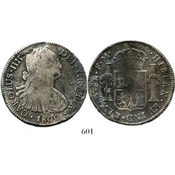 Mexico City, Mexico, bust 8 reales, Charles IV, 1800FM. KM-109; CT-695. 26.5 grams. Bold details, no