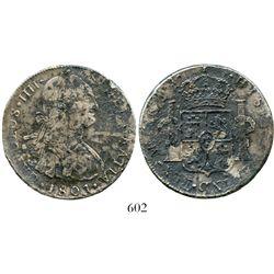 Lima, Peru, bust 8 reales, Charles IV, 1801IJ. KM-97; CT-656. 25.3 grams. Good details despite light