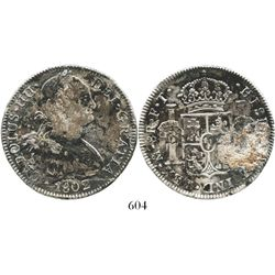 Mexico City, Mexico, bust 8 reales, Charles IV, 1802FT. KM-109; CT-698. 26.7 grams. Deeply toned and