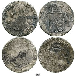Lot of 2 Seville, Spain, bust 8 reales, Charles IV, 1802CN. KM-432.2; CT-777. 46.6 grams total. One