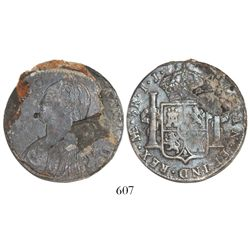 Lima, Peru, bust 8 reales, Charles IV, assayer IJ (1791-1803), with obverse encrusted and showing th