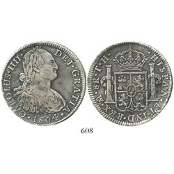 Mexico City, Mexico, bust 8 reales, Charles IV, 1804TH. KM-109; CT-701. 26.6 grams. Choice specimen