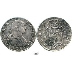 Madrid, Spain, bust 8 reales, Charles IV, 1805FA. KM-432.1; CT-675. 26.4 grams. Choice, lustrous AU+