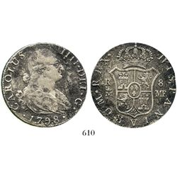 Madrid, Spain, bust 8 reales, Charles IV, 1798MF. KM-432.1; CT-670. 25.5 grams. Crisp XF+ details (t