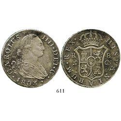 Seville, Spain, bust 8 reales, Charles IV, 1803CN. KM-432.2; CT-778. 25.8 grams. Choice specimen wit
