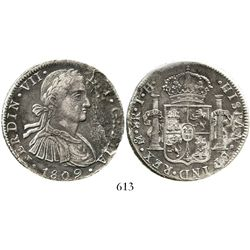 """Mexico City, Mexico, bust 8 reales, Ferdinand VII transitional (""""armored bust""""), 1809TH. KM-110; CT-"""