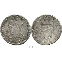 Lima, Peru, bust 8 reales, Charles III, 1785MI. KM-78a; CT-868. 24.5 grams. Lightly to moderately co