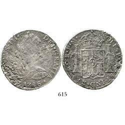 Mexico City, Mexico, bust 8 reales, Charles III, 1786FM. KM-106.2; CT-939. 23.3 grams. Moderate surf