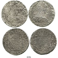 Lot of 2 Mexico City, Mexico, bust 8 reales, Charles III, 1777FM and 1779FF. KM-106.2. 44.8 grams to